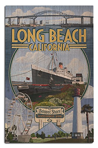 Long Beach, California - Montage (12x18 Wood Wall Sign, Wall Decor Ready to - Shore California Belmont Long Beach