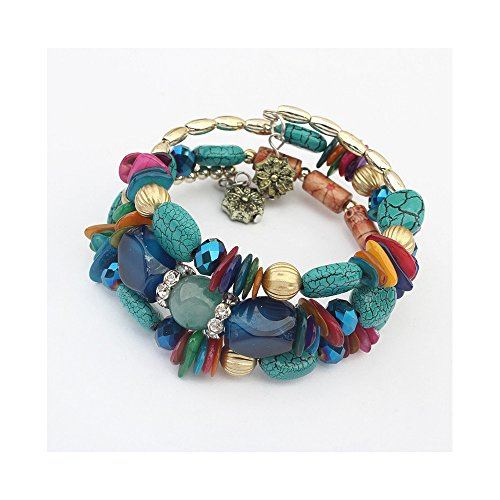 The Starry Night Blue Beads Ancient Flower Pendant 3 Cluster Bracelet for Fashion Females 23.62