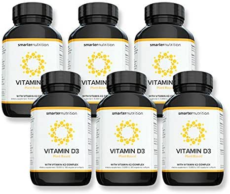 Plant-Based Vitamin D3 with Vegan K2 Complex in a Vegetarian Softgel | Includes 5,000 IU of Vitamin D for Supporting Complete Bone Health & Arterial Protection (360 count - 6 Month Supply)