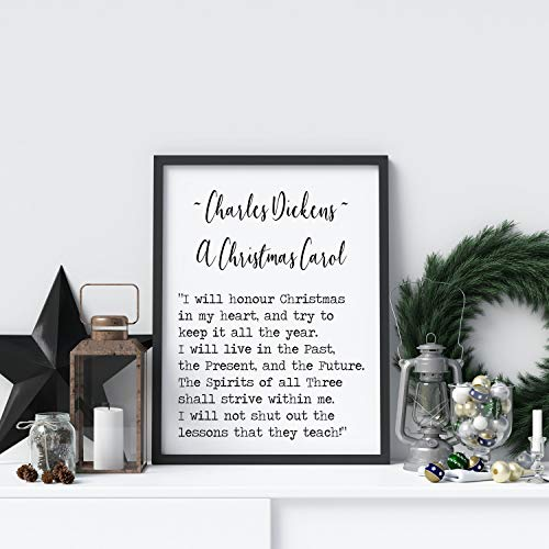 Les Connie A Christmas Carol Quote Charles Dickens I Will Honor Christmas in My Heart Book Lover Print for Library Decor Love Quote unframed Poster -