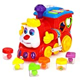 Early Education 2 Year Olds Baby Toy Intelligence Train with Music/Light/Block/Language Learning for Children & Kids Boys and Girls