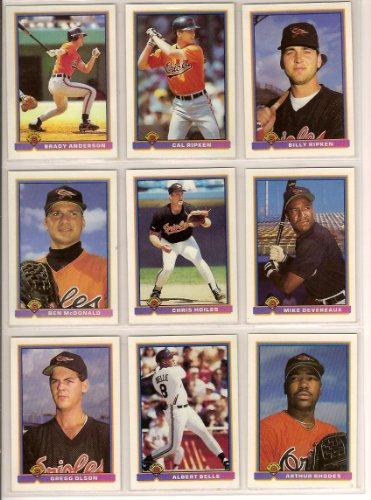 Baltimore Orioles 1991 Bowman Baseball Team Set (24 Cards) (Cal Ripken) (Billy Ripken) (Dwight Evans) (Brady Anderson) (Chris Hoiles) 2000 Bowman Baseball Card