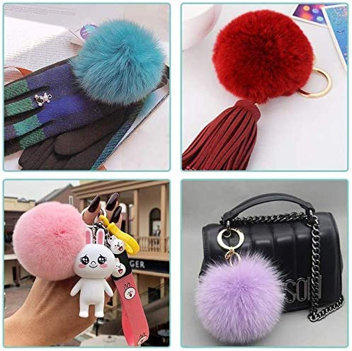 KisSealed 36 Pieces Colorful Faux Fur Pom Poms Balls with Elastic Loop Fur Pompoms for Hats Scarves Gloves Bags Accessories 4 Inch,18 Colors,2 Pcs Each Color