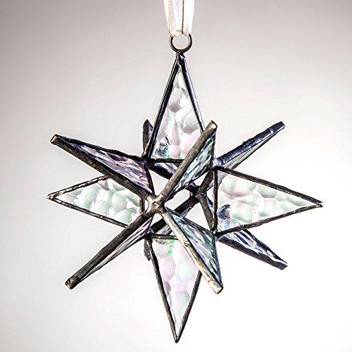J Devlin Orn 252 Clear Iridized Hanging Glass Moravian Star Ornament, Small 4 1/2 x 4 1/2 ()