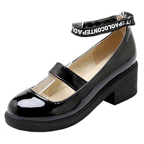 COOLCEPT Damen Mode-Event Geschlossene Round Toe Pumps Knochelriemchen Mary Janes Schwarz