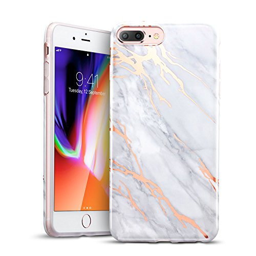 ESR iPhone 8 Plus Case, iPhone 8 Plus Marble Case, Slim Soft Flexible TPU Marble Pattern Cover for The iPhone 8 Plus/7 Plus(Grey Gold Sierra)