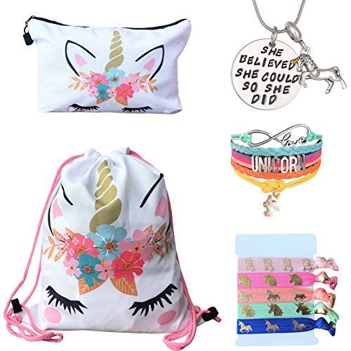 Unicorn Gifts for Girls - Unicorn Drawstring Backpack/Makeup Bag/Bracelet/Inspirational Necklace/Hair Ties (White Flower) ()