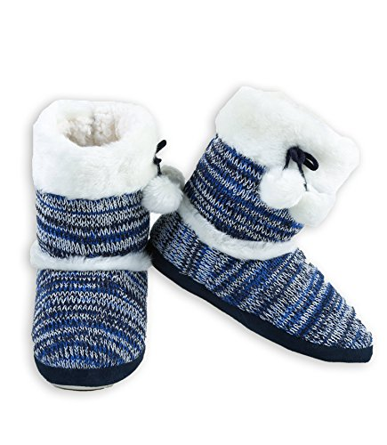 ICONOFLASH Knit Sweater Faux Bootie Trim Slipper Women's Fur Blue with rqwvBr7xa