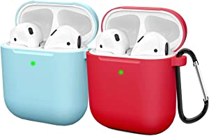 Compatible AirPods Case Cover Silicone Protective Skin for Apple Airpod Case 2&1 (2 Pack) Blue/Red