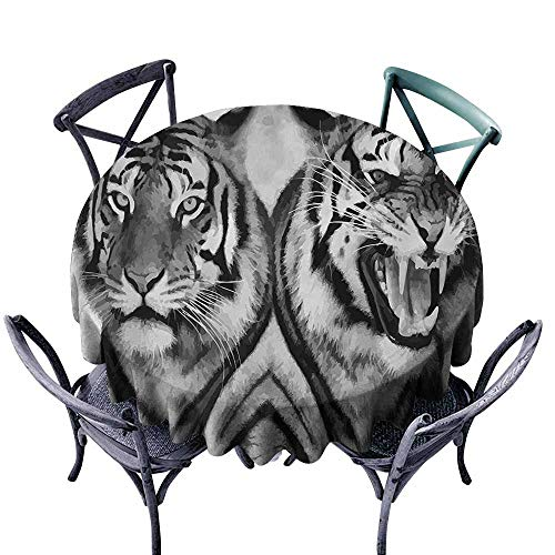 VIVIDX Fashions Table Cloth,Safari,Cat Expression Opposite Images Fearsome Teeth Mirror Angry Intense Wildlife,Modern Minimalist,67 INCH,Pale Grey - Cycles Spider Intense