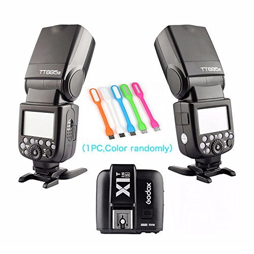 2X Godox Thinklite TT685S TTL High Speed 1/8000s GN60 Camera Flash speedlite + X1S Wireless Trigger for Sony DSLR Cameras + HuiHuang USB LED Free gift by Godox