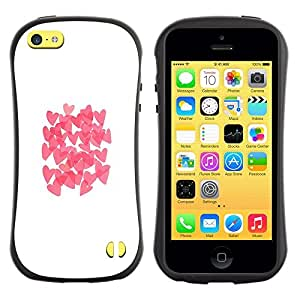 "Hypernova Slim Fit Dual Barniz Protector Caso Case Funda Para Apple iPhone 5C [Mariposa rosada blanca Limpio""]"