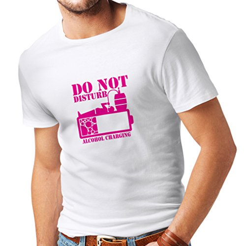 lepni.me N4221 T Shirts For Men Alchohol Charging (XXX-Large White Magenta)