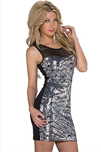 Femmes Noir et argent à paillettes Robe bodycon Club Wear Taille UK 8–10EU 36–38