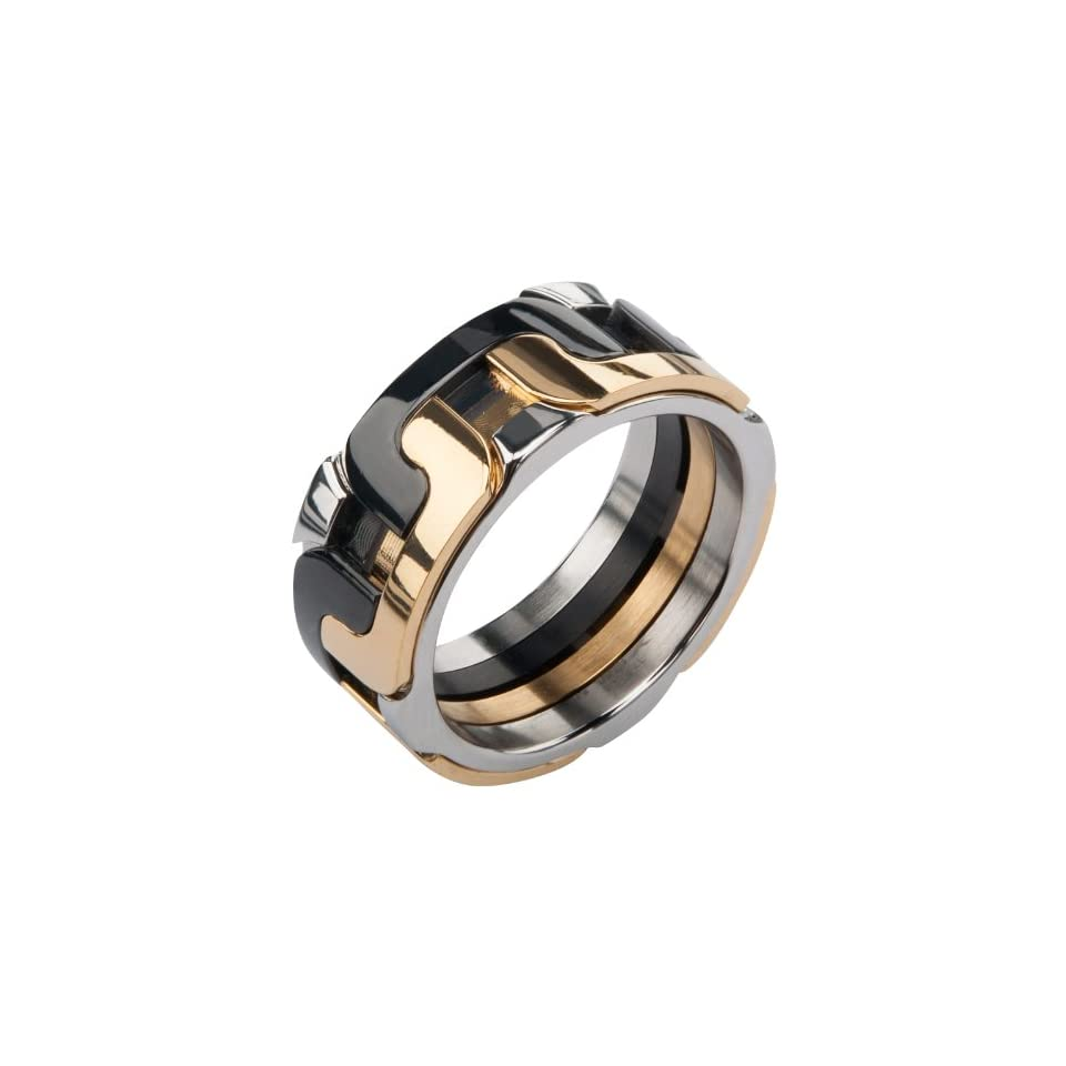 Inox Mens Stainless Steel Gold & Black Interlock Polished Ring Size 9 FR138 9 Jewelry