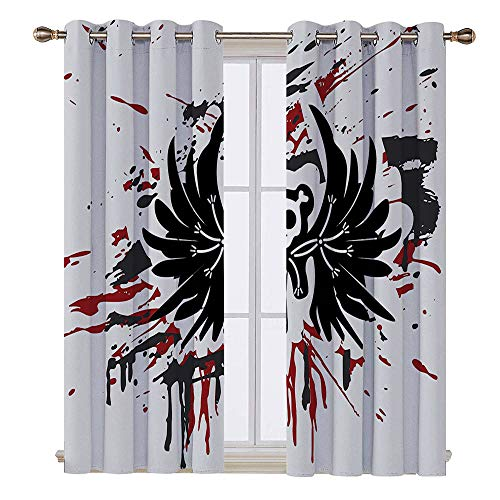 SATVSHOP 100% Blackout Window Curtain Panels - 55W x 72L Inch-Liner for Nursery.Halloween Teddy Bon with Skull Face and Wings Dead Humor Funny Comic Terror Dign Pearl Black uby.]()