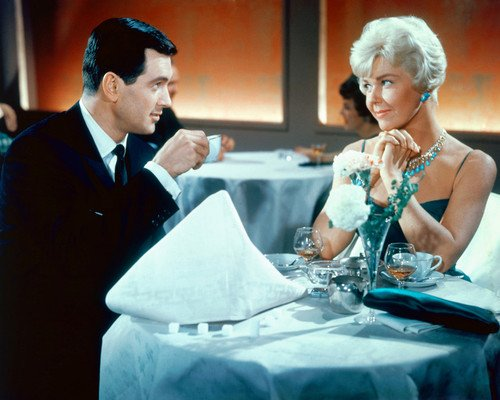 Pillow Talk Rock Hudson Doris Day at dining table 8x10 Promotional Photograph