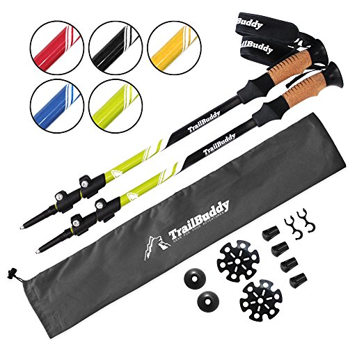 TrailBuddy Trekking Poles - 2-pc Pack Adjustable Hiking or Walking Sticks - Strong, Lightweight Aluminum 7075 - Quick Adjust Flip-lock - Cork Grip, Padded Strap - Free Bag, Accessories (Moss Green)
