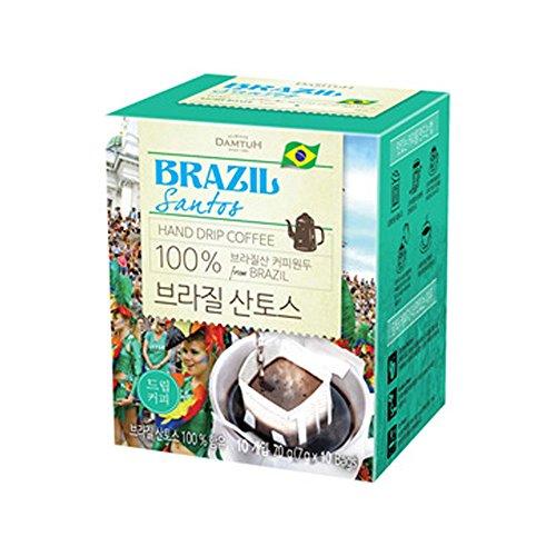 DAMTUH Brazilian Santos Hand Drip Coffee, Instant Pour Over Hand Drip Coffee, Single Serve, Light Roast, 10 Count