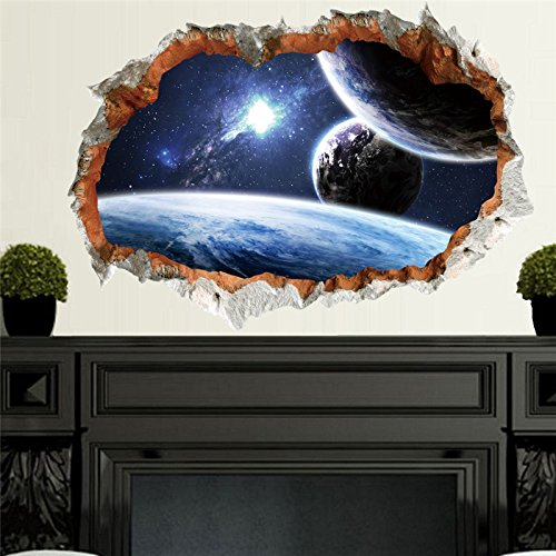 Custom Extra 3D Space Sticker - Sticker Wall Decor Space - Outer Space Planet Wall Sticker For Kids Room 3D Effect Scenery Home Decor Galaxy Mural Decals Living Room Decoration