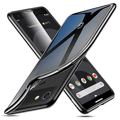 ESR Essential Twinkle Case Compatible for Google Pixel 3, Slim Clear Soft TPU Cover, Black Frame