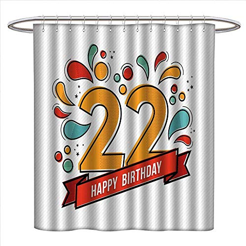 alisoso 22nd Birthday Shower Curtain Customized Colorful Anniversary Invitation Typography Design with Modern Graphic Print Bathroom Set with Hooks W72 x L96 Multicolor -