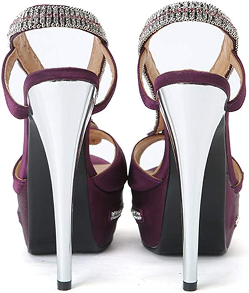 CASSOCK Ladies High Heel Sandals Satin Snake Crystals Slingback Platform Club Office Shoes Black