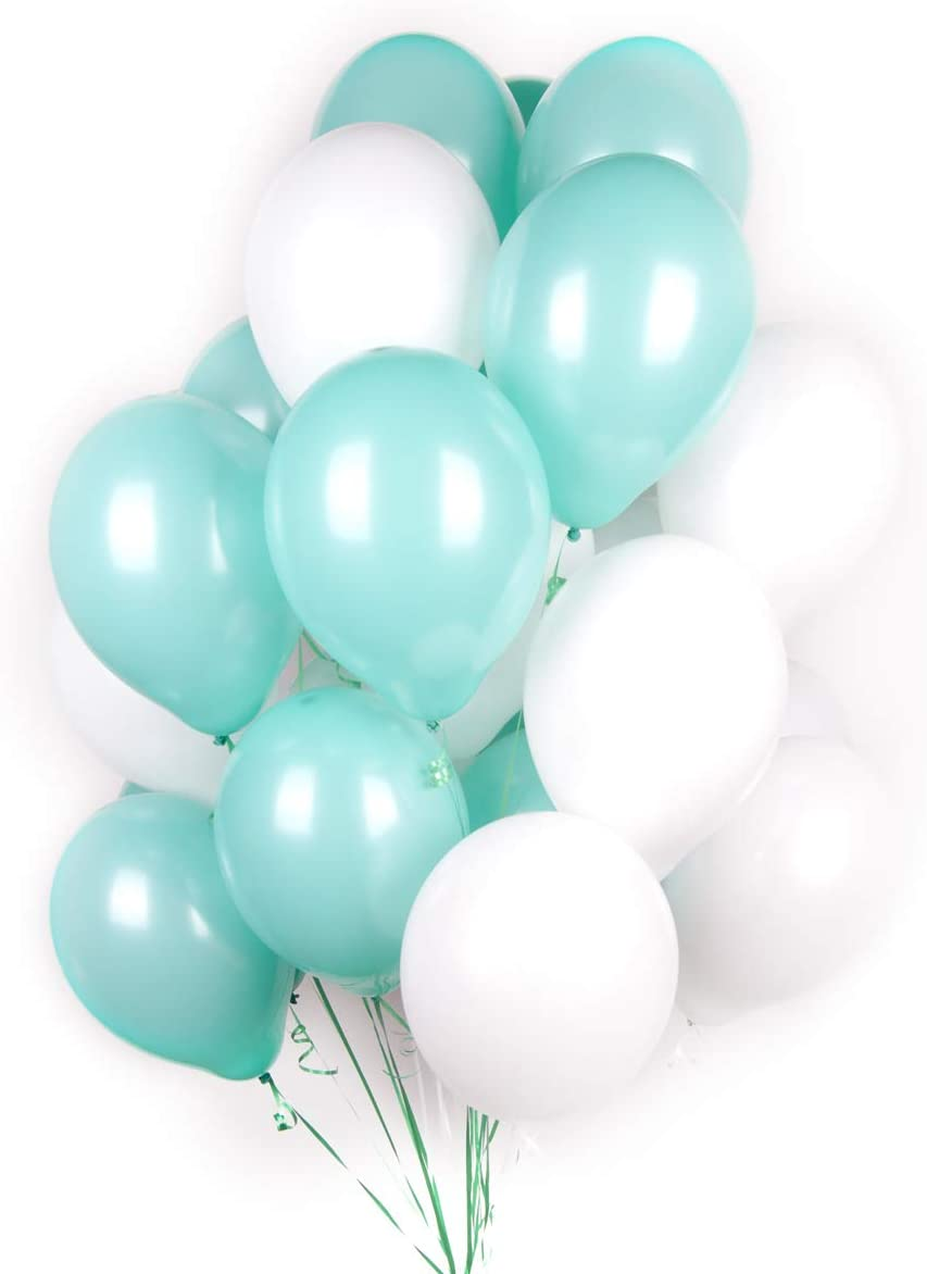BALONAR 60pcs 12inch White and Tiffany Blue Latex Balloon for Birthday Party Decoration Baby Shower Supplies Wedding Ceremony Balloon Anniversary Decorations Arch Balloon Tower (Blue 03)