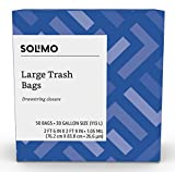 Amazon Brand - Solimo Multipurpose Drawstring Trash Bags, 30 Gallon, 50 Count