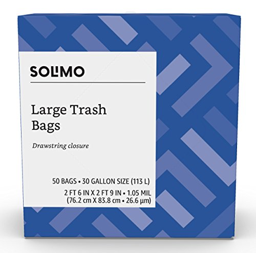 Amazon Brand - Solimo Multipurpose Drawstring Trash Bags, 30 Gallon, 50 Count by Solimo