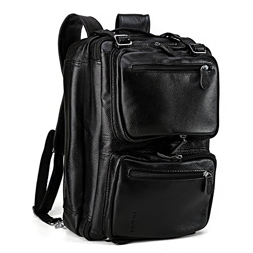 Tiding Men's Genuine Leather Backpack Multi-purpose Laptop Messenger Shoulder Weekend Luggage Duffle Gym Bags Briefcase (Convert Leather Backpack)