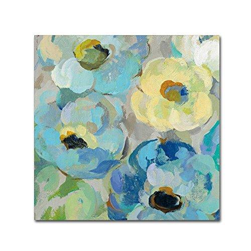 (Fresh Teal Flowers II by Silvia Vassileva, 18x18-Inch Canvas Wall Art)