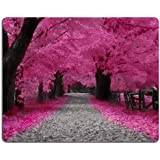 Neon Pink Cherry Blossom Trail Japan Mouse Pads Customized Made to Order Support Ready 9 7/8 Inch (250mm) X 7 7/8 Inch (200mm) X 1/16 Inch (2mm) High Quality Eco Friendly Cloth with Neoprene Rubber MSD Mouse Pad Desktop Mousepad Laptop Mousepads Comfortable Computer Mouse Mat Cute Gaming Mouse_pad