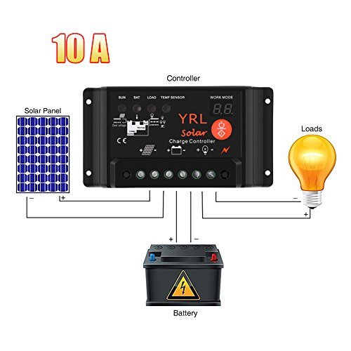 Waterproof Solar Charge Controller Anti-Lightning Intelligent Regulator Adapter 10A 12V/ 24V 120W/ 240W for Power Energy/ Street Lighting System and Environment Monitor etc by Life up