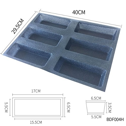 Bluedrop Silicone Bread Forms Square Shape Bread Molds Non Stick Bakery Trays Silicone Coated Fiber Glass 6 Caves Rectangle Moulds by Bluedrop (Image #2)