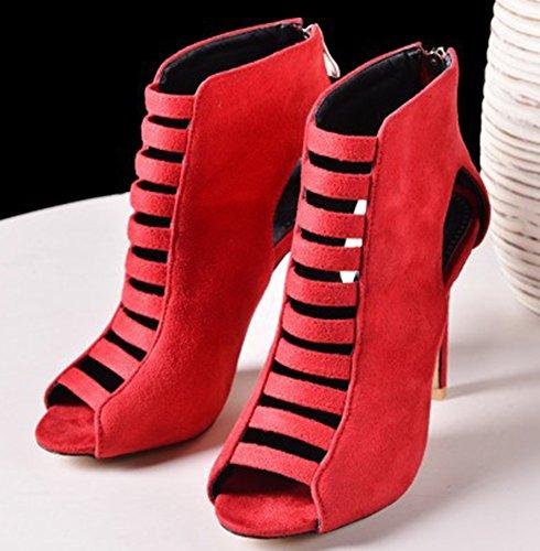 Banquet Aisun Fille Bottes Rouge Peep Sandales Toe Découpe Femme Sexy nwYprZYXT