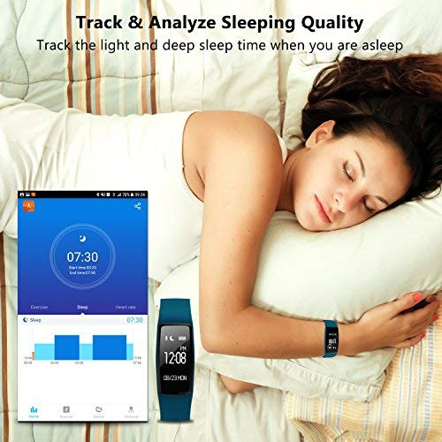 GULAKI Fitness Tracker Watch, Exercise Tracker with Heart Rate Monitor Calorie Counter Pedometer IP67 Waterproof Smart Wristband Bracelet Activity Tracker for Android & IOS (Blue Watch)