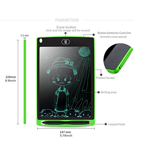 Sanwin 8.5 Inch Digital Ewriter LCD Drawing Tablet Eco Friendly Paperless Drawing/Doodle Pad for Kids,No Backlit Safe to Eyes Easy Use,Magnet Stick Fridge Memo Board Long Life 50000 Erase Time(Green) by Sanwin (Image #3)