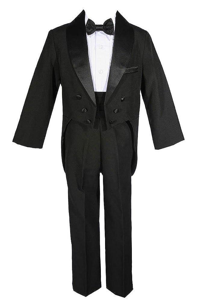 AMJ Dresses Inc 5 Pieces Black Big Boys Wedding Tuxedo W/tail