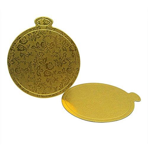 "Enlynn 3-1/2"" (9 cm) Round Mini Single Portion Cake Board, Cardboard Cake Base (Gold), 100 pcs"