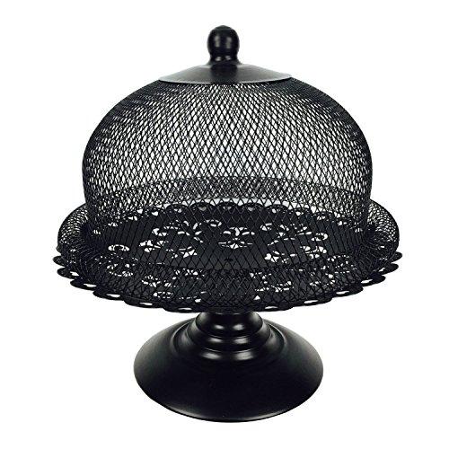 Cake Stand and Dome Lid,Cake Plate Rack Display Holder Metal for Tea Shop Room Hotel, Wedding Cake Dome,Serving Stand, Food Dome,Cake Display Presentation (black 1)