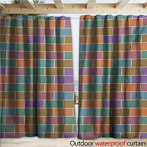 Patio Brick Pattern - warmfamily Colorful Outdoor Curtain Panel for Patio Vintage Brick Wall Motif Geometric Rectangles Pattern Retro Design Inspirations W120 x L84 Multicolor