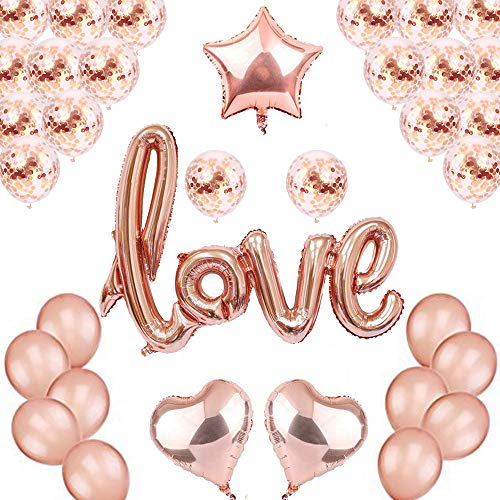 Rose Gold Love Balloons Confetti Kit - Rose Gold Confetti Balloons - Rose Gold Foil Heart Balloons - Rose Gold Party Decorations - Wedding, Bridal Shower Decorations, Love Ballon Kit ()