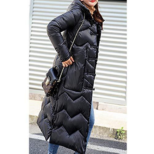 Coton Taille Hiver en Capuche Longue Noir Chaud HANMAX Femme Duvet Grande Doudoune avec de Manteau Rtro qwx6Hp