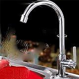 AWXJX Sink Taps Single handle copper chrome Single hole Single cold kitchen Seated Basin