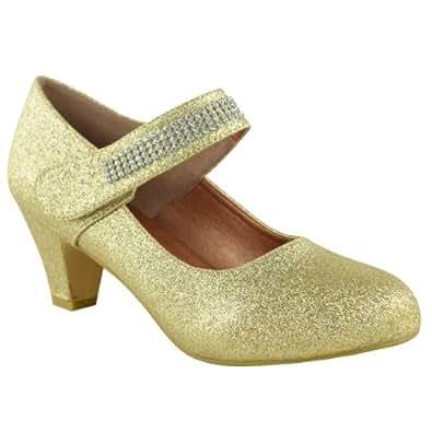 Fashion Thirsty Womens Wedding Diamante Prom Low Mid High Heel Bridal Court Pumps Shoes Size 10 (US), 9.5 (AU)