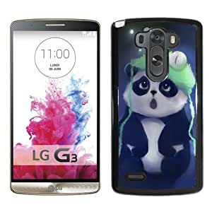 Cute Panda Painting Black Fantastic Unique Cusstomized LG G3 Case