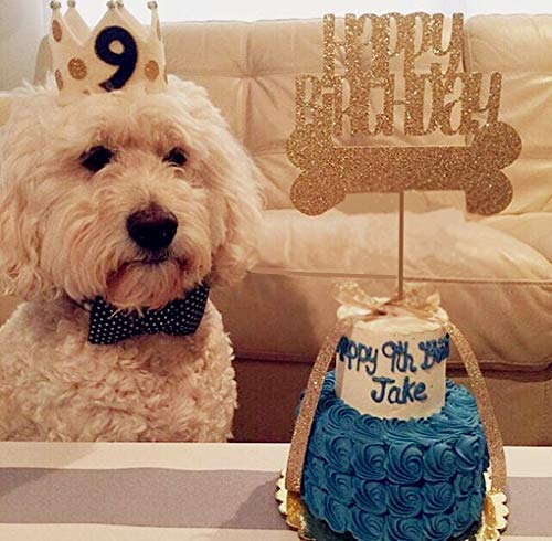 JeVenis Glitter Dog Birthday Cake Topper Dog Bone Cake Decoration Puppy Cupcake Toppers for Dog Pet Birthday Party Supplies