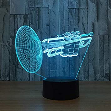 XINGXIAOYU Herramienta Trompeta 3D LED Night Light 7 ...