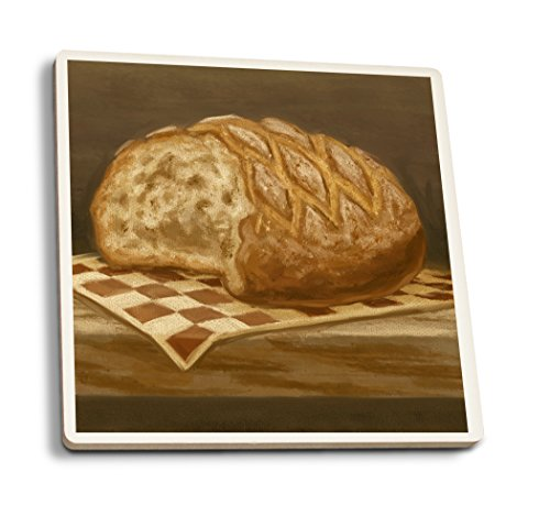 Lantern Press French Country Bread - Oil Painting (Set of 4 Ceramic Coasters - Cork-Backed, Absorbent)